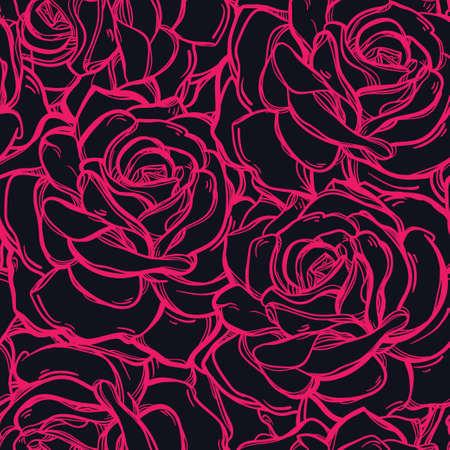 rosas rosadas: De fondo sin fisuras patr�n de la vendimia elegante de flores de peon�a rosa o flores, bayas de verano. Ilustraci�n vectorial aislado. Telas, textiles, papel, papel tapiz. dibujado a mano retro ornamento. Estilo vintage Vectores