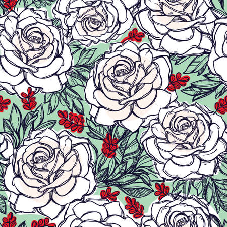flower patterns: Seamless elegant vintage floral pattern background of rose or peony flowers, summer berries. Isolated vector illustration. Fabrics, textiles, paper, wallpaper. Retro hand drawn ornament. Vintage style Illustration