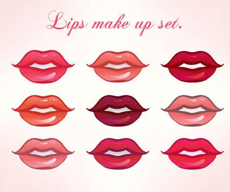 beso labios: Hot Lips close up set. Elemento de diseño. Vector aislados colección. Ilustración estilo colorido, diferentes tonos de lápiz labial. Spa de belleza. Moda sesión de la revista foto. Invente plantilla artista.
