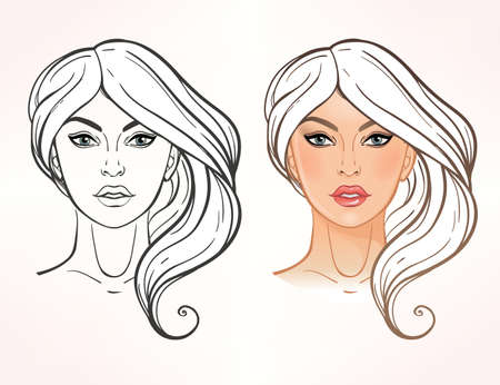 photo shoot: Face chart Makeup Artist Blank. Elegant Template. Color and linear vector Isolated illustration.Beauty spa and massage. Skin, eyes, lips. Fashion show and photo shoot template. Illustration