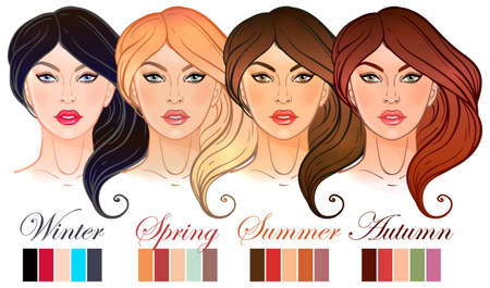 make up artist: Seasonal color types for women skin beauty set. Summer, Spring, Autumn, Winter. Color beautiful girls faces, make up shades matching each type. Isolated Vector illustration. Make up artist template.