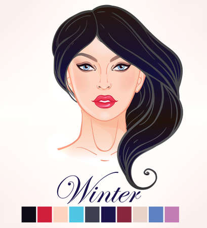 black hair blue eyes: Seasonal color types for women skin beauty set element Winter. Beautiful girls face portrait, make up shades matching each type. Warm tones. Isolated Vector illustration. Make up artist template.
