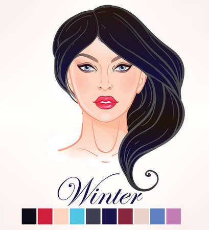 cabeza de mujer: tipos de color de temporada para la belleza de la piel mujeres conjunto de elementos del invierno. Las muchachas hermosas retrato de la cara, conforman tonos que coinciden con cada tipo. Los tonos cálidos. ilustración del vector. Compensar la plantilla artista.