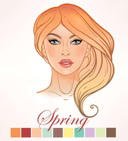 make up face: Seasonal color types for women skin beauty set element Spring. Beautiful girls face portrait, make up shades matching each type. Warm tones. Isolated Vector illustration. Make up artist template.