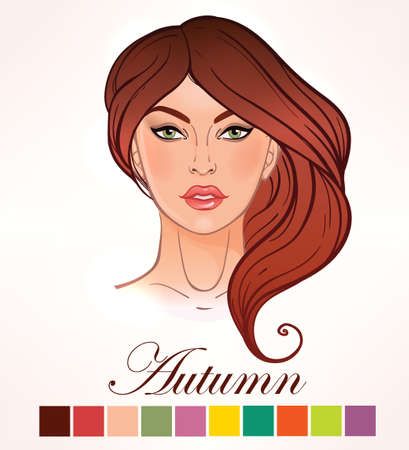 red hair: Seasonal color types for women skin beauty set element Autumn. Beautiful girls face portrait, make up shades matching each type. Warm tones. Isolated Vector illustration. Make up artist template.