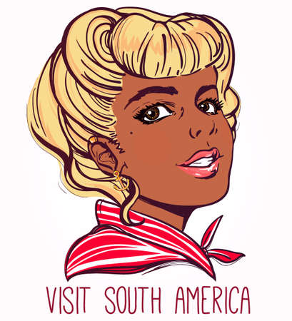 blond hair: Portrait of a tan pretty young woman with pin up style blond hair. Vector illustration isolated on white. Visit South america text. Tattoo and scrapbook template.