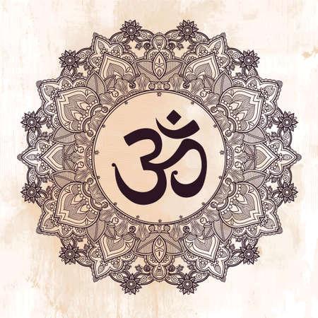 seigneur: Seigneur Ganesha et Om symbole de mandala. Round ornement. Illustration