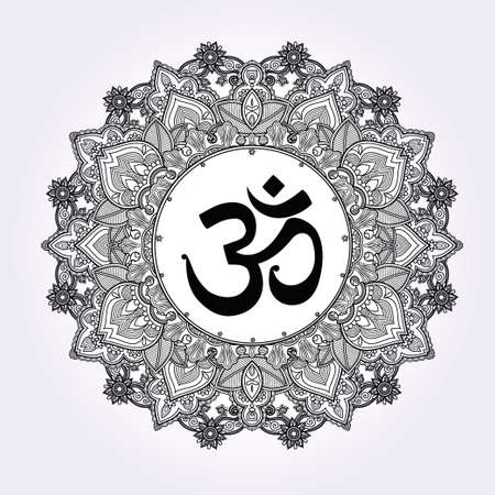 ayurveda: Lord Ganesha and Om mandala symbol. Round Ornament Pattern. Illustration