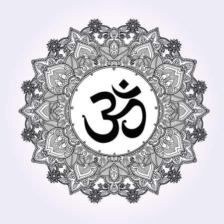 tatouage: Seigneur Ganesha et Om symbole de mandala. Round ornement. Illustration