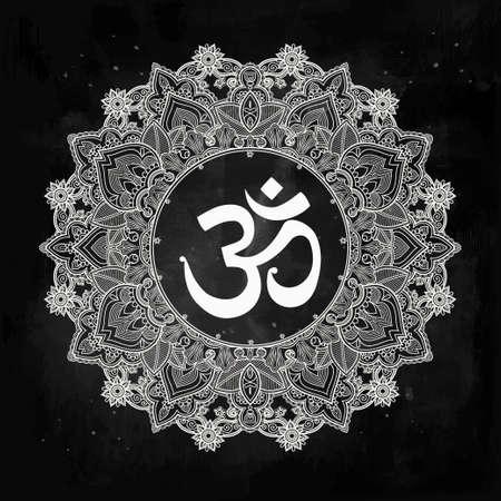 Lord Ganesha and Om mandala symbol. Round Ornament Pattern. Illustration
