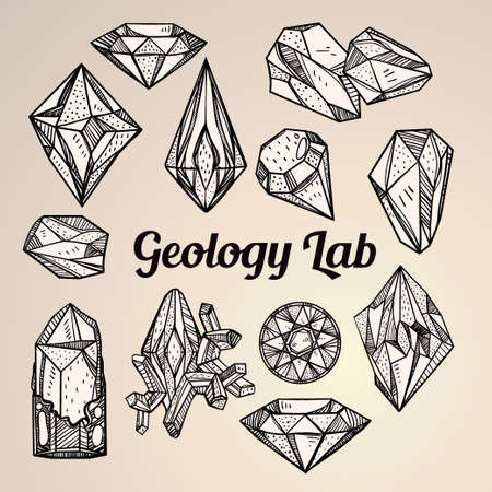 geology: Set of hand drawn crystal gems. Geometric linear gemstone. Trendy hipster retro background, lab, science, tattoo design element. A collection of  gem cut shapes. Isolated vector illustration. Geology.