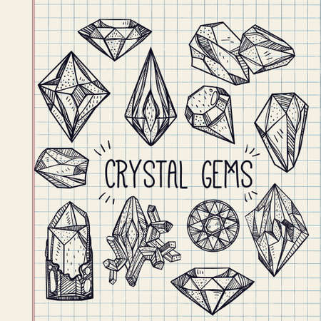 birthstone: Set of hand drawn crystal gems. Geometric linear gemstone. Trendy hipster retro background, logotypes, tattoo design element, symbol. A collection of cut shapes. Isolated vector illustration. Science.