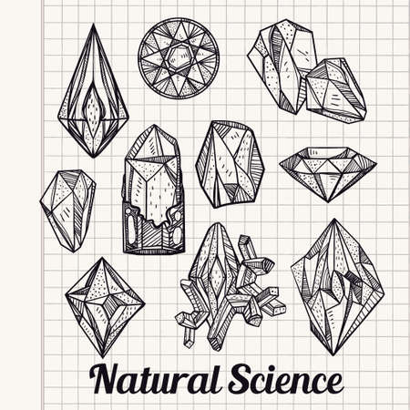 zircon: Set of hand drawn crystal gems. Geometric linear gemstone. Trendy hipster retro background, logotypes, tattoo design element, symbol. A collection of cut shapes. Isolated vector illustration. Science.