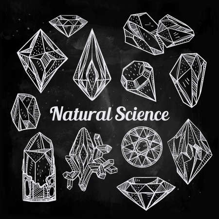 gemstone background: Set of hand drawn crystal gems. Geometric linear gemstone. Trendy hipster retro background, logotypes, tattoo design element, symbol. A collection of cut shapes. Isolated vector illustration. Science.