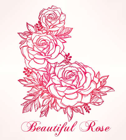 Vintage floral highly detailed hand drawn rose flower stem with roses and leaves. Victorian Motif, tattoo design element. Bouquet concept art. Isolated vector illustration in line art style.