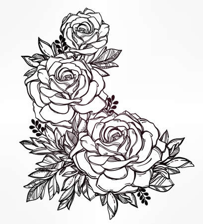 outline drawing: Vintage floral highly detailed hand drawn rose flower stem with roses and leaves. Victorian Motif, tattoo design element. Bouquet concept art. Isolated vector illustration in line art style.