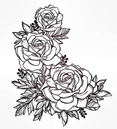 fiore: Vintage floreale a mano molto dettagliato redatto rosa staminali fiore con rose e foglie. Motif vittoriana, tatuaggio elemento di design. Bouquet concept art. Isolata illustrazione vettoriale in stile art linea.