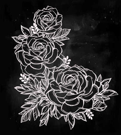 flower arrangement: Vintage floral highly detailed hand drawn rose flower stem with roses and leaves. Victorian Motif, tattoo design element. Bouquet concept art. Isolated vector illustration in line art style.
