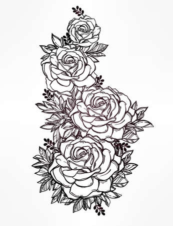 arrangement: Vintage floral highly detailed hand drawn rose flower stem with roses and leaves. Victorian Motif, tattoo design element. Bouquet concept art. Isolated vector illustration in line art style.
