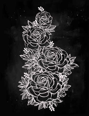 rose tattoo: Vintage floral highly detailed hand drawn rose flower stem with roses and leaves. Victorian Motif, tattoo design element. Bouquet concept art. Isolated vector illustration in line art style.