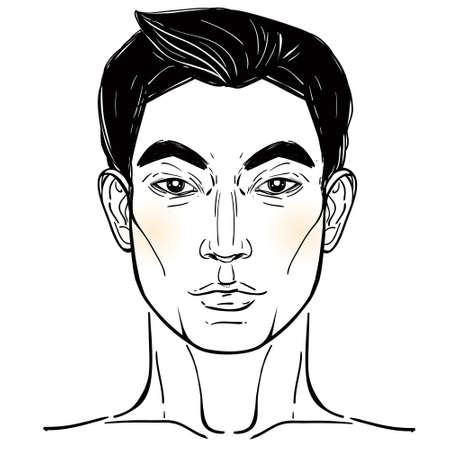 front view: Handsome Asian mans head template isolated on white. Vector illustration. Illustration