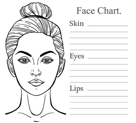 make up model: Female Face chart make up artist blank. Vector illustration. Beauty spa and massage. Skin, eyes, lips. Fashion show and photo shoot template.