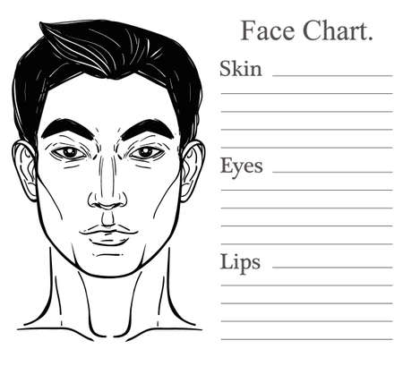 make up face: Face chart make up artist blank. Template. Vector illustration. Beauty spa and massage. Skin, eyes, lips. Fashion show and photo shoot template. Handsome Asian mans face and head isolated on white. Illustration