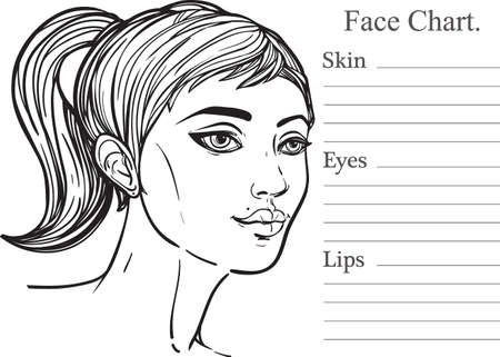 photo shoot: Face chart make up artist blank. Template. Vector illustration. Beauty spa and massage. Beautiful woman, three froths view. Skin, eyes, lips. Fashion show and photo shoot template.