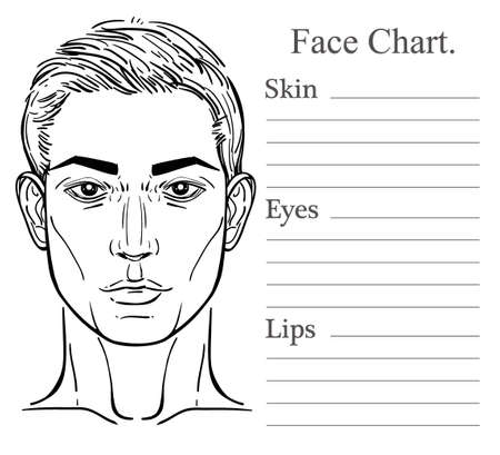 photo shoot: Face chart make up artist blank. Vector illustration. Handsome mans head template isolated on white.  Beauty spa and massage. Skin, eyes, lips. Fashion show and photo shoot template.