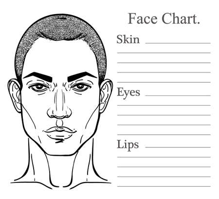 Face chart make up artist blank. Vector illustration. Beauty spa and massage. Handsome African descent or African American black mans head template.