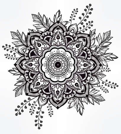 diseño: Dibujado a mano de flores ornamentales de la corona de hojas y palos.