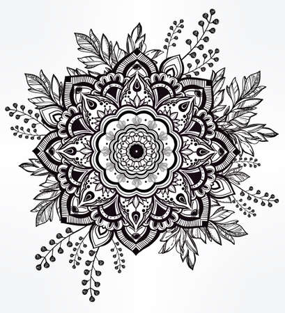 Hand drawn ornate flower in the crown of leaves and sticks.