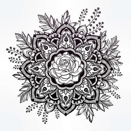 gitana: Dibujado a mano adornado flor color de rosa de la corona de hojas y palos.