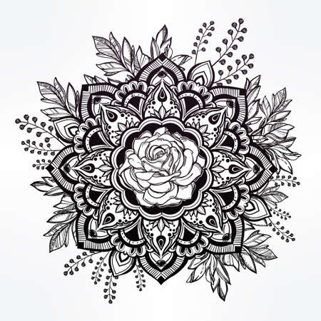 vintage symbol: Hand drawn ornate rose flower in the crown of leaves and sticks.