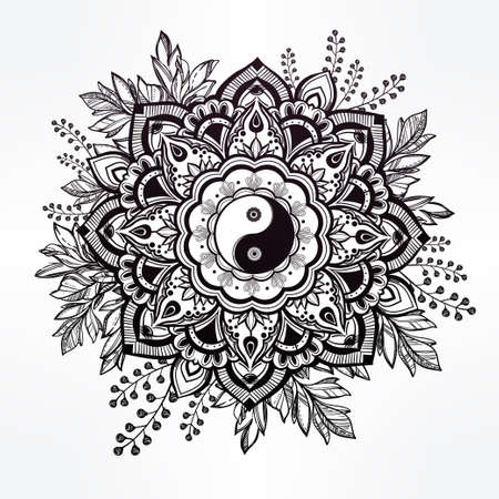 tao: Hand drawn ornate flower in the crown of leaves with  Yin and yang Tao symbol.