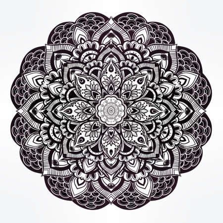 spiritual: Hand drawn ornate paisley floral mandala. Ideal ethnic background, tattoo art, yoga and textiles. Illustration