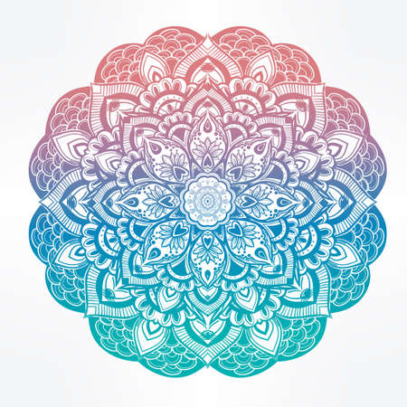mandala flower: Hand drawn ornate paisley floral mandala. Ideal ethnic background, tattoo art, yoga and textiles. Illustration