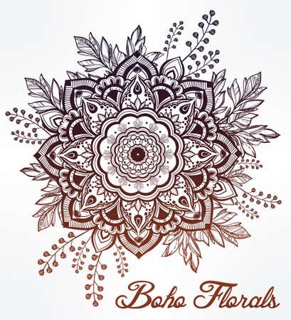 tatouage fleur: Hand drawn fleur orné de la couronne de feuilles et des bâtons.