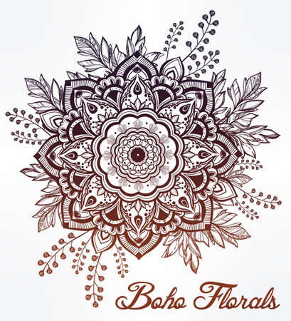 indian tattoo: Hand drawn ornate flower in the crown of leaves and sticks.