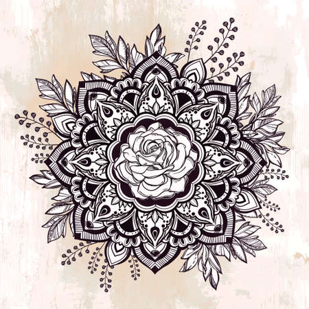 drawing paper: Hand drawn ornate rose flower in the crown of leaves and sticks.