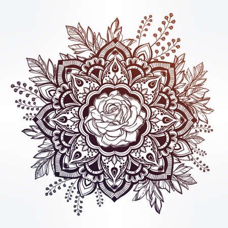 verschnörkelt: Hand gezeichnet verzierten rosafarbene Blume in der Krone der Blätter und Stöcke.