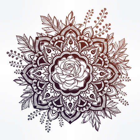 Hand drawn ornate rose flower in the crown of leaves and sticks.