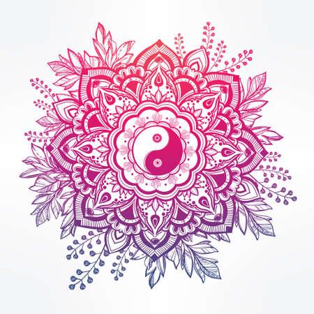 yin y yang: Dibujado a mano de flores ornamentales de la corona de hojas con el Yin y el Yang Tao símbolo. Vectores