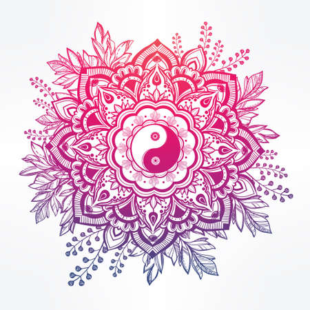 yang style: Hand drawn ornate flower in the crown of leaves with  Yin and yang Tao symbol.