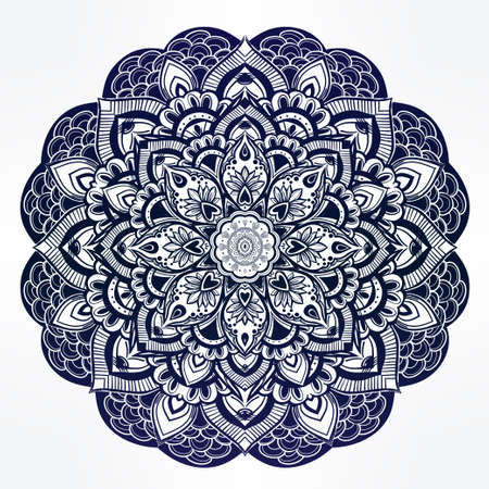 Hand drawn ornate paisley floral mandala. Ideal ethnic background, tattoo art, yoga and textiles. Illustration