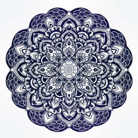 Tiré par la main orné mandala floral paisley. Idéal origine ethnique, l'art du tatouage, le yoga et les textiles. Illustration