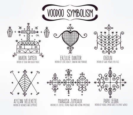 Voodoo spirits symbols set. Spiritual, magical, cultural and tattoo art.