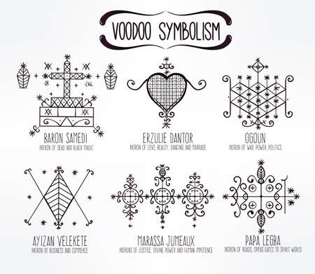 voodoo: Voodoo spirits symbols set. Spiritual, magical, cultural and tattoo art.