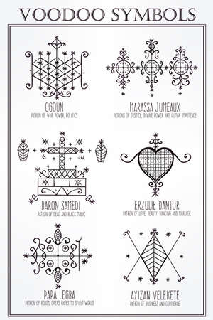 voodoo: Voodoo spirits symbols set. Spiritual, magical, cultural and tattoo art.