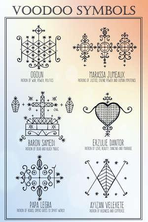 satanic: Voodoo spirits symbols set. Spiritual, magical, cultural and tattoo art.